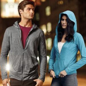 Anvil triblend full-zip hooded jacket